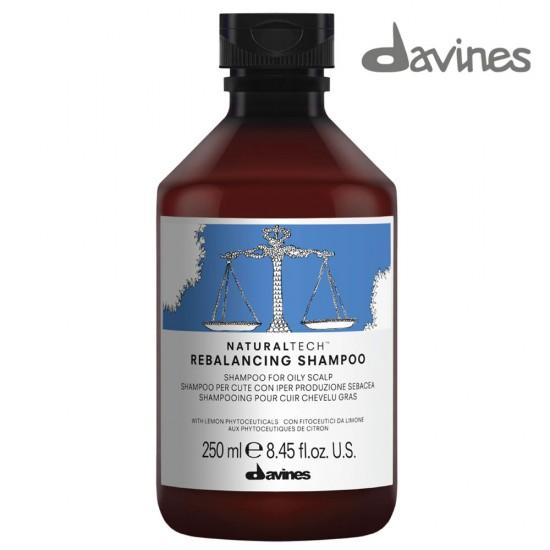 Davines NaturalTech Rebalancing tauku dziedzeru balansējošs šampūns taukainai galvas ādai 250ml