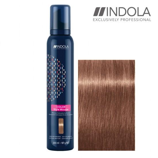 Indola Color Style Mousse Medium Brown tonejošas matu putas 200ml